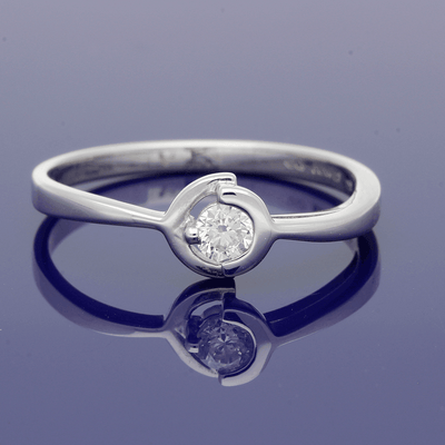 18ct White Gold 0.15ct Brilliant Cut Diamond Solitaire Ring