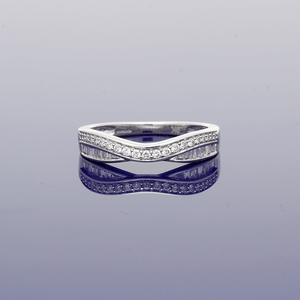 9ct White Gold Diamond Curved Eternity Ring