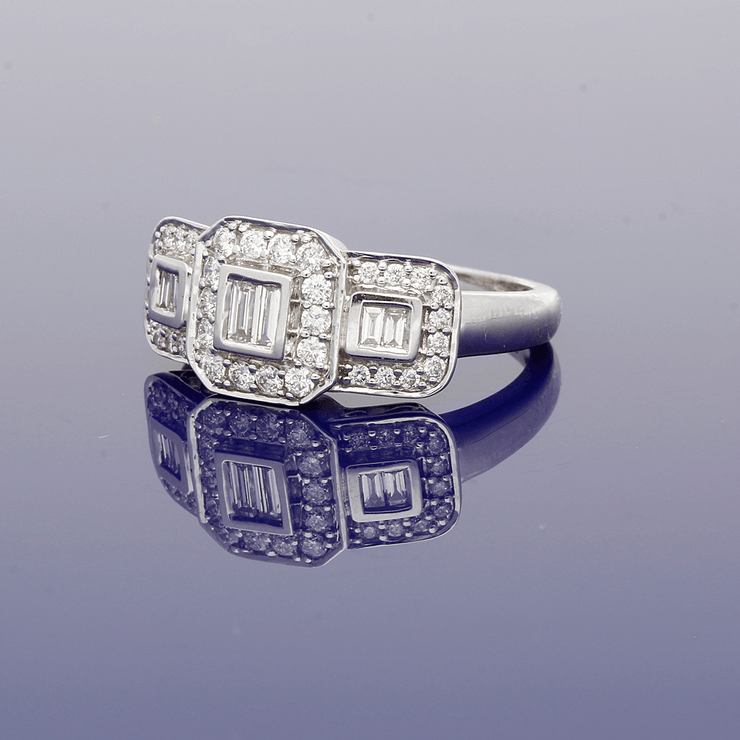 9ct White Gold Diamond Cluster Trilogy Ring