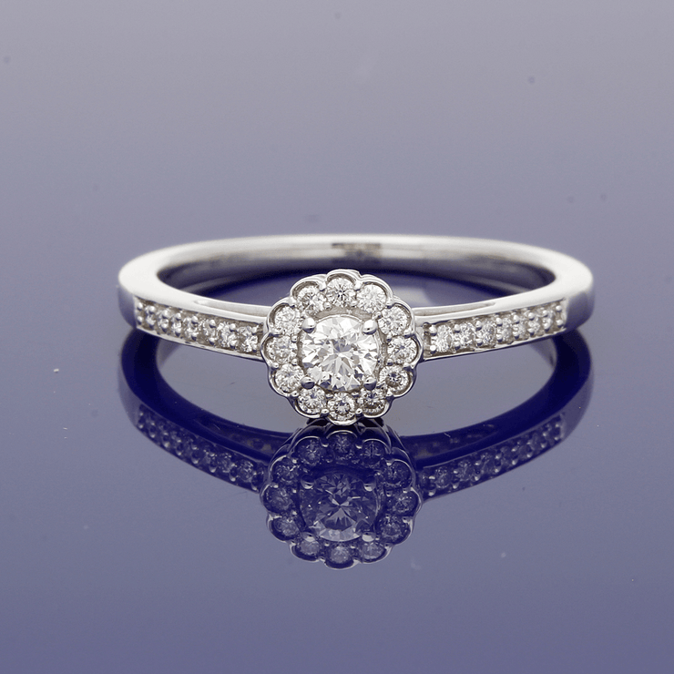 9ct White Gold Diamond Halo Ring with Diamond Set Shoulders