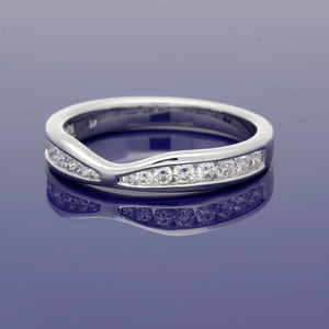 9ct White Gold Diamond Curve Shaped Eternity Ring