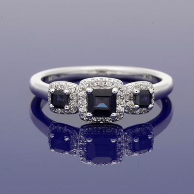 9ct White Gold Sapphire & Diamond Trilogy Cluster Ring