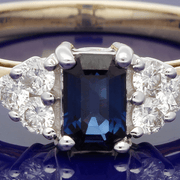 9ct Yellow Gold Sapphire and Diamond Cluster Ring