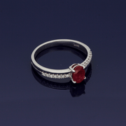 9ct White Gold Ruby Solitaire Ring with Diamond Set Shoulders