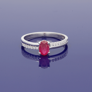 9ct White Gold and Ruby Solitaire Ring with Diamond Set Shoulders