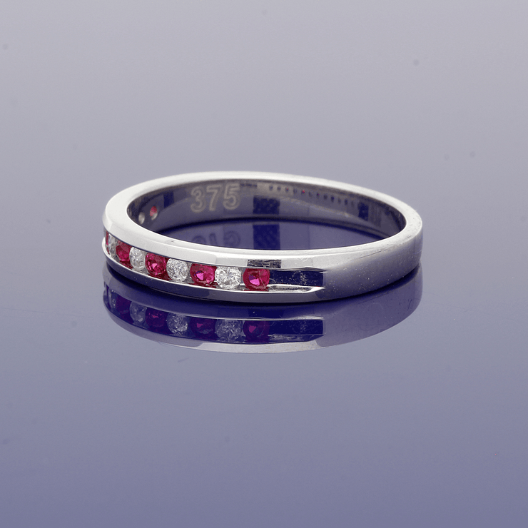 9ct White Gold Ruby & Diamond Eternity Ring