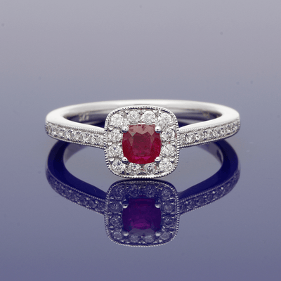 9ct White Gold Ruby and Diamond Square Halo Ring