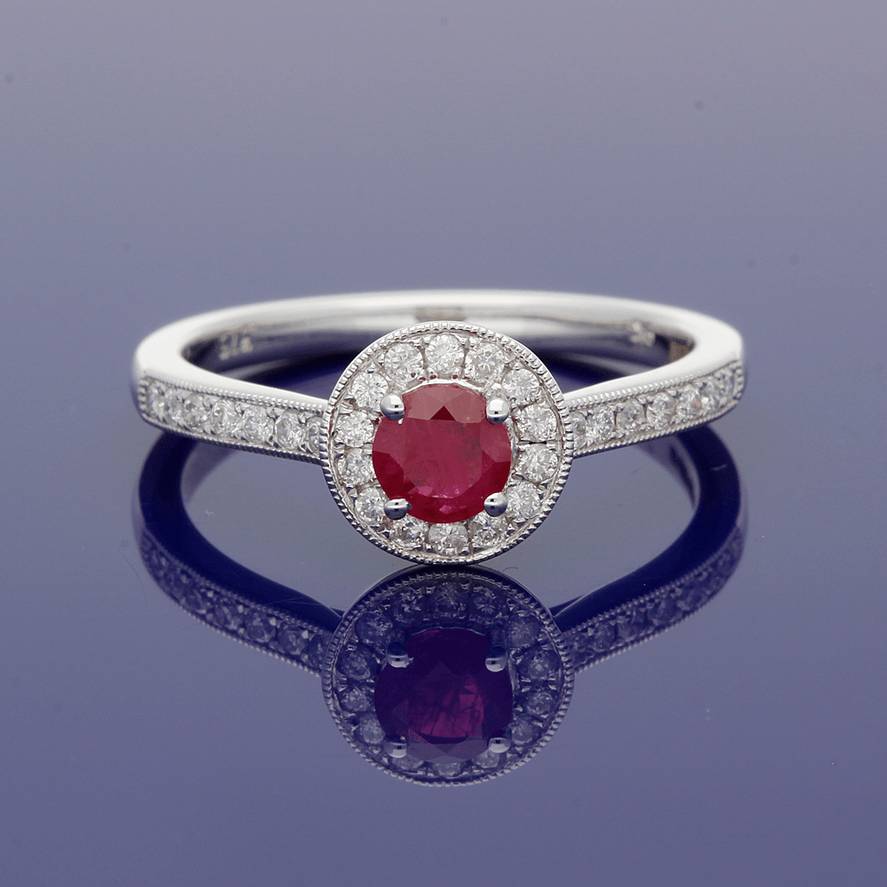 9ct White Gold Ruby and Diamond Halo Ring