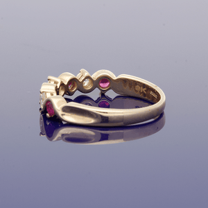 9ct Yellow Gold Ruby and Diamond Half Eternity Ring