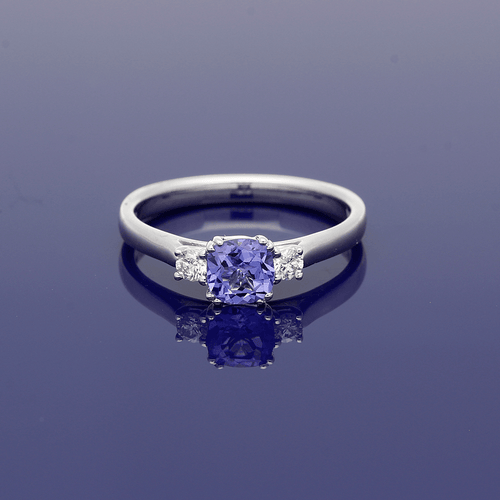 9ct White Gold Tanzanite and Diamond Trilogy Ring