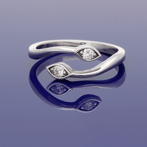 9ct White Gold Twist Diamond Ring