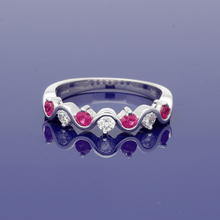 9ct White Gold Ruby and Diamond Half Eternity Ring