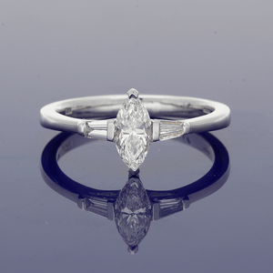 18ct White Gold Marquise Diamond with Tapered Baguettes Trilogy Ring