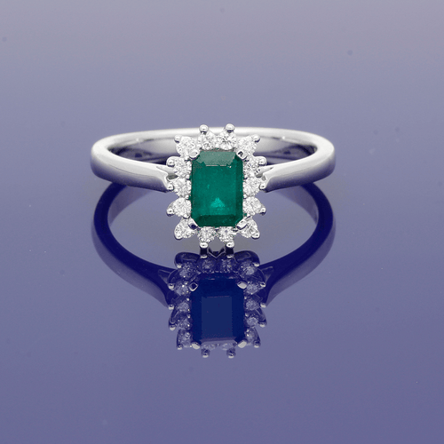 9ct White Gold and Emerald Cluster Ring