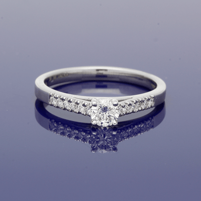 Platinum 0.38ct Diamond Solitaire Ring with Diamond Set Shoulders