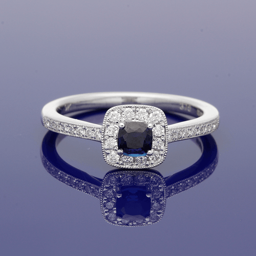 9ct White Gold Sapphire & Diamond Halo Cluster Ring with Diamond Set Shoulders