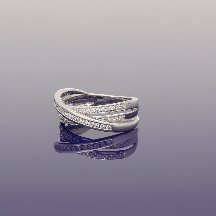 9ct White Gold Diamond Multi Row Ring