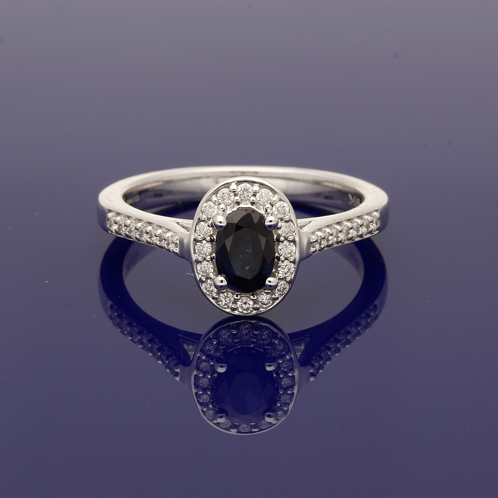 9ct White Gold Sapphire & Diamond Halo Cluster Ring