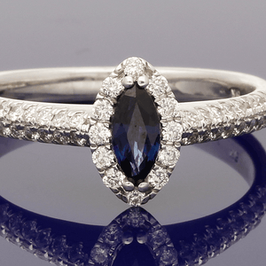 9ct White Gold Sapphire and Diamond Halo Ring
