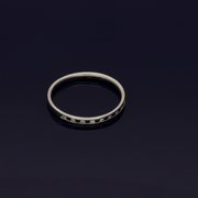 9ct White Gold Sapphire & Diamond Half Eternity Ring