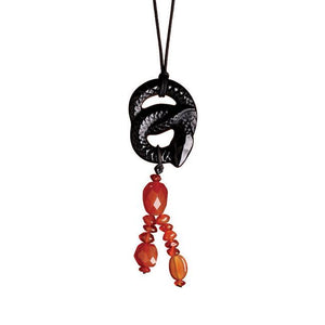Lalique Serpent Pendant - Black