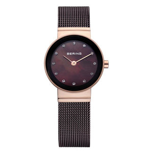 Ladies 22mm 2 Tone Blue And Rose Pvd Stainless Steel Bering Mesh Bracelet Watch