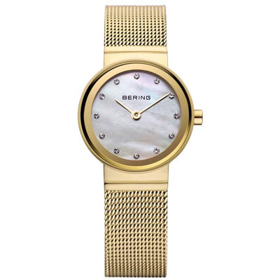 Ladies Classic 22mm Gold Pvd Stainless Steel Bering Mesh Bracelet Watch