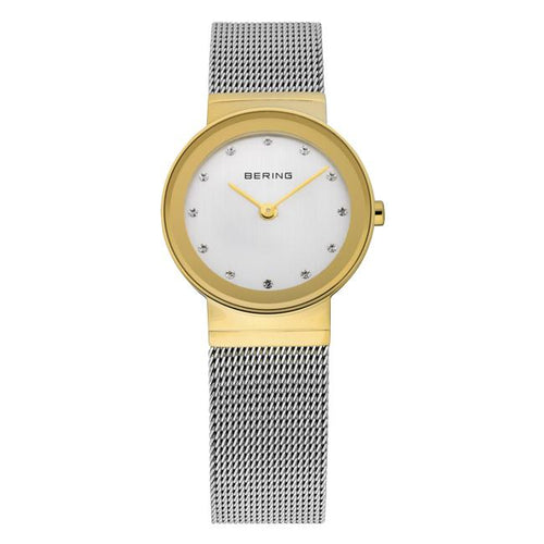 Ladies 26mm 2 Tone Gold Pvd Case And Stainless Steel Bering Milanese Bracelet Watch