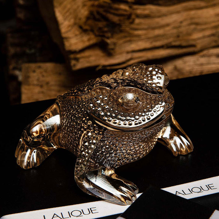 Lalique Gregoire Toad Sculpture - Gold Luster