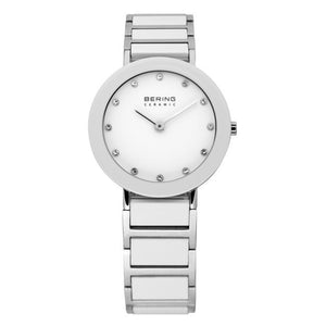 Ladies 29mm 2 Tone Ceramic And Stainless Steel Bering Bracelet Watch