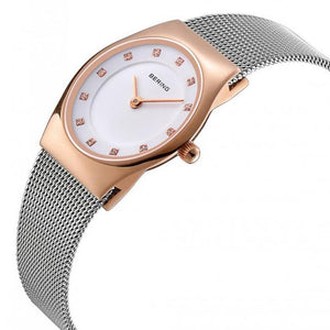 Ladies 27mm 2 Tone Rose Gold Pvd Case And Stainless Steel Bering Milanese Bracelet Watch