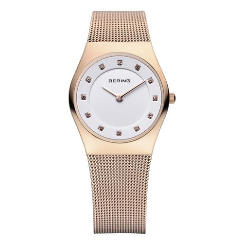 Ladies 27mm Rose Gold Pvd Stainless Steel Bering Milanese Bracelet Watch