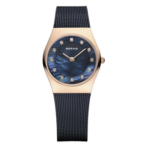 Ladies 27mm 2 Tone Rose Gold Pvd Case And Blue Pvd Stainless Steel Bering Milanese Bracelet Watch