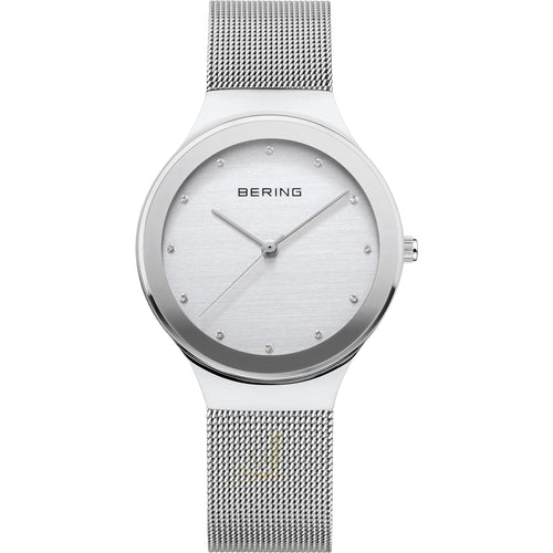 Ladies 34mm Bering Stainless Steel Milanese Bracelet Watch, 12934-000