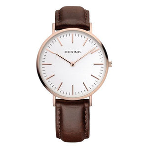 Mens Classic 38mm Rose Pvd Strap Watch