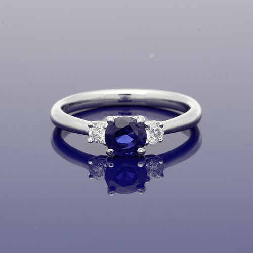 Platinum Diamond and Sapphire Trilogy Ring