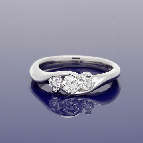 Platinum and Diamond Split Set Trilogy Ring