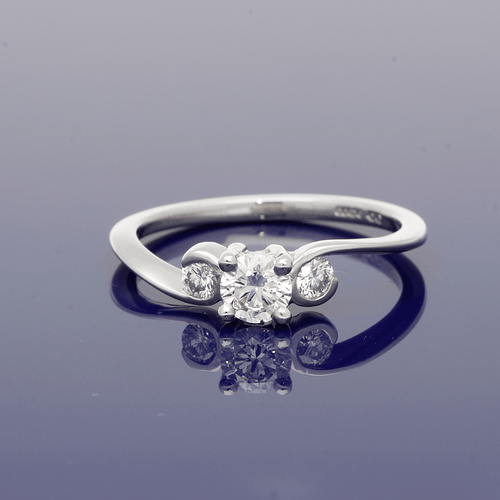 Platinum and Diamond Swirl Set Trilogy Ring
