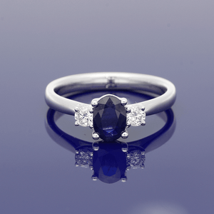 18ct White Gold Diamond and Sapphire Trilogy Ring