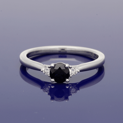 18ct White Gold Sapphire and Diamond Trilogy Ring