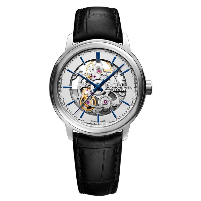 Raymond Weil Men's Maestro Skeleton Automatic Leather Strap Watch, 2215-STC-65001