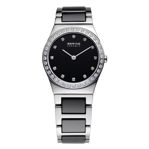 Ladies 30mm 2 Tone Ceramic And Stainless Steel Bering Bracelet Watch