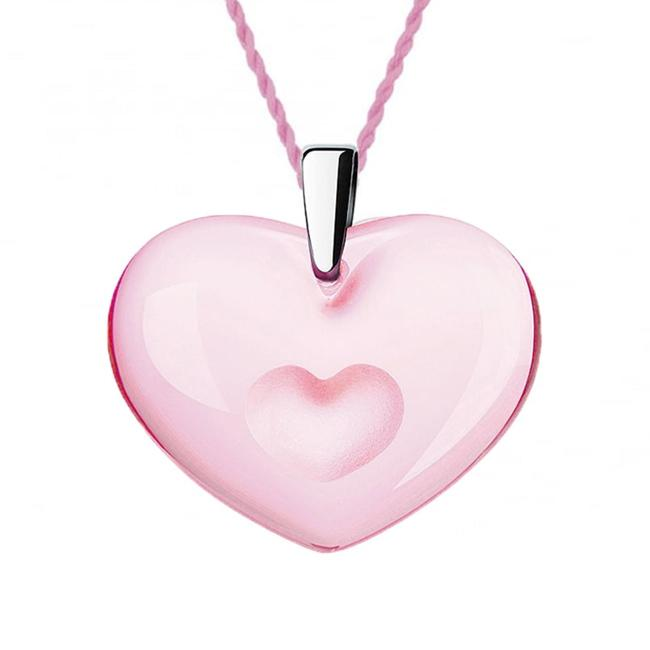 Lalique Tender Heart Pendant - Pink