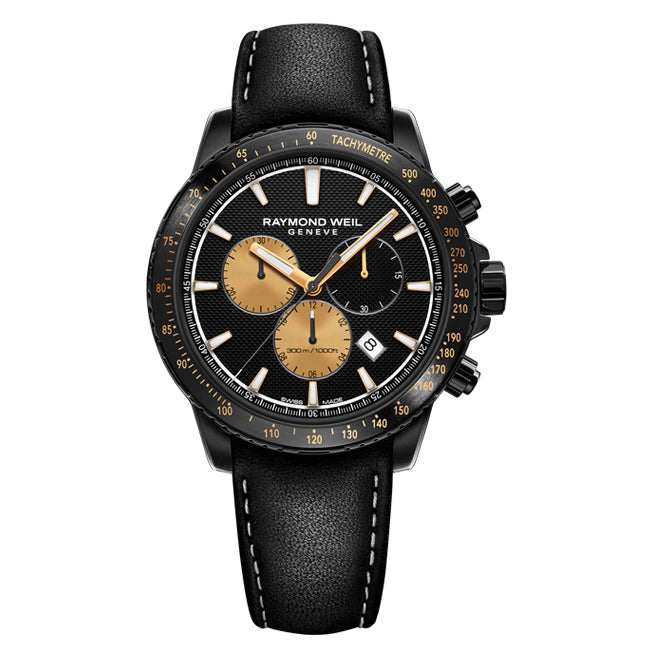 Raymond Weil Men's Marshall Amplification Limited Edition Quartz Chronograph Leather Strap Watch, 8570-BKC-MARS1