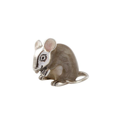 Silver Enamel Brown Mouse - Small
