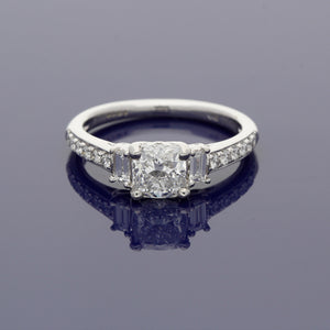 Platinum and Cushion Cut Diamond Trilogy Ring