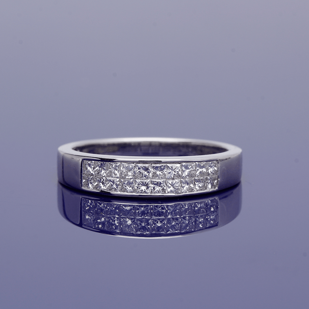 18ct White Gold Princess Cut Two Row Half Eternity Ring