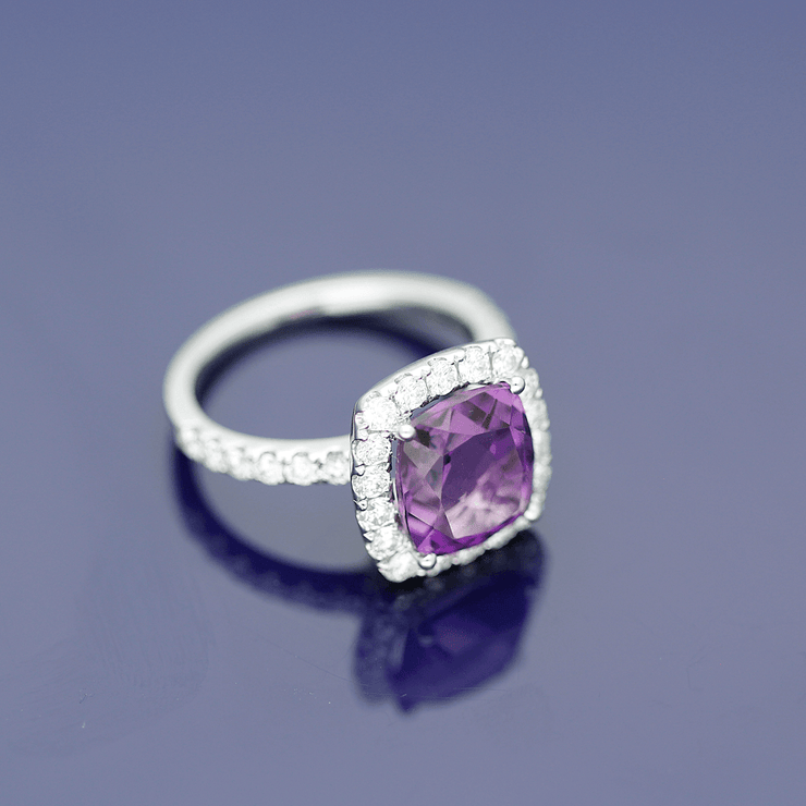 18ct White Gold Amethyst and Diamond Halo Ring