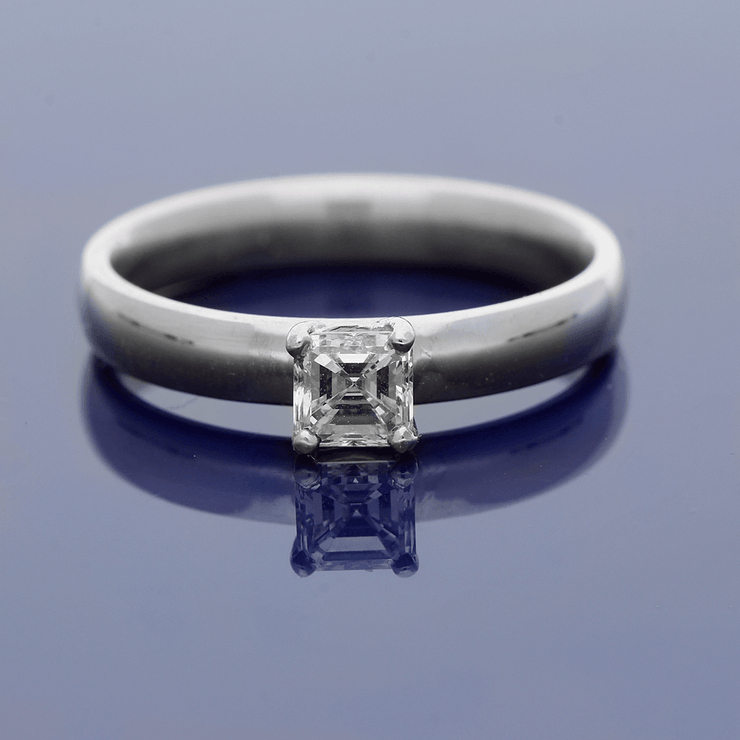 18ct White Gold 0.49ct Asscher Cut Diamond Solitaire Ring