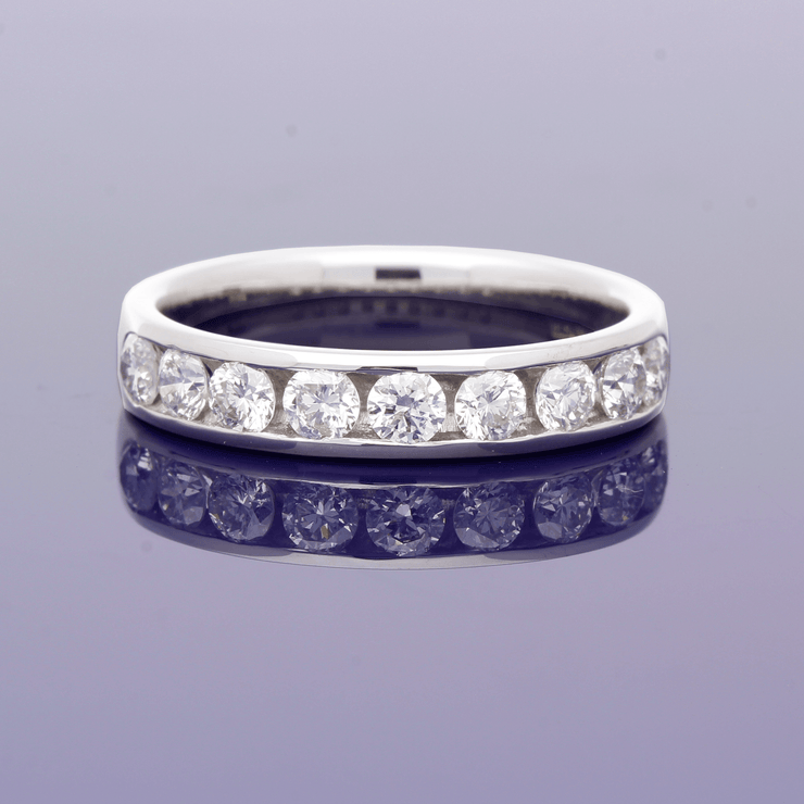 18ct White Gold 4mm Channel Set Diamond Half Eternity Ring
